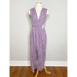 VTG Purple Printed Crossover Sleeveless Jumpsuit